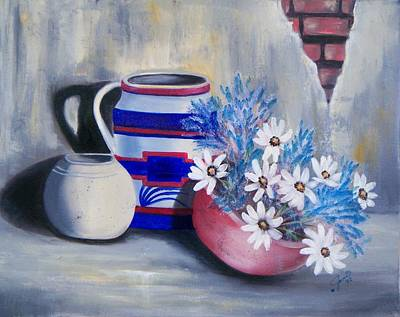 Oil Painting - Vases And Flowers by Joni McPherson