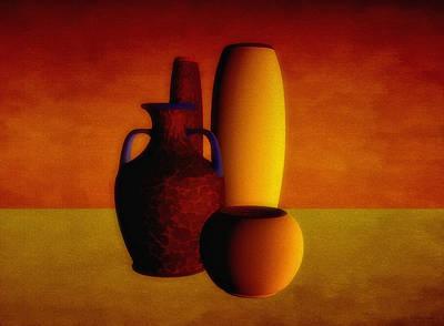 Warm Digital Art - Vases In Warm Tones by Ramon Martinez