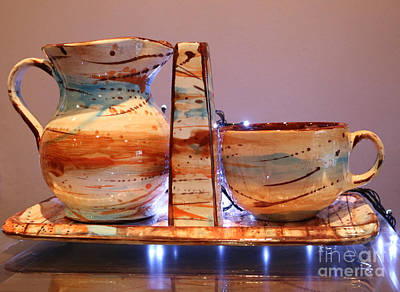 Ceramic Mixed Media - Vases, Trays And Cup Milk by Agikons