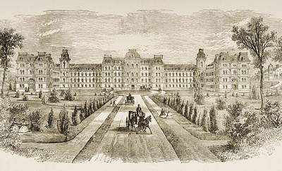 University Drawings Drawing - Vassar College Poughkeepsie New York In by Vintage Design Pics