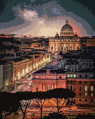 Painting - Vatican City At Night by Andrea Mazzocchetti