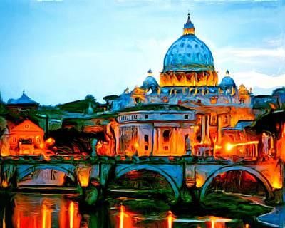 Studio Grafika Vintage Posters - Vatican City At Night by  Redub