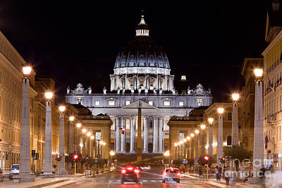 Photograph - Vatican City. St. Peter's Basilica At Night by Michal Bednarek