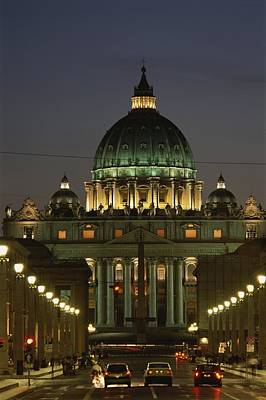 Vatican, Rome, Italy.  Night View Art Print by Richard Nowitz