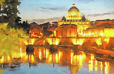 Digital Art - Vatican's St. Peter's Basilica by Dennis Cox WorldViews