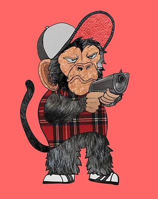 Vato Monkey Art Print by Daniel Adams