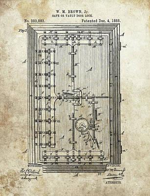 Drawing - Vault Door Lock Patent by Dan Sproul