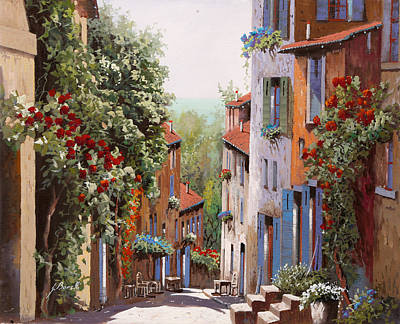Shadows Painting - vecchia Cagnes by Guido Borelli