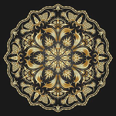 Doily Digital Art - Vector Gold  by Muge Basak