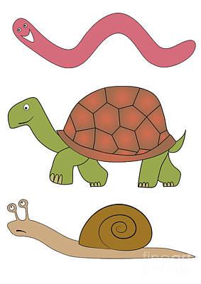 Vector Slowly Animals Art Print by Michal Boubin