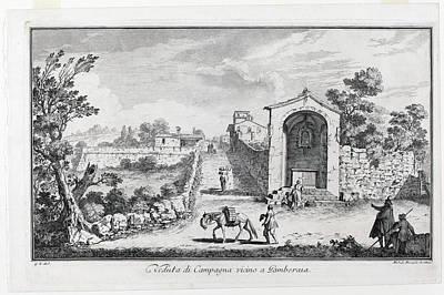 Drawing - Veduta Di Campagna Vincino A Gamberaia by Michele Marieschi after Giuseppe Zocchi