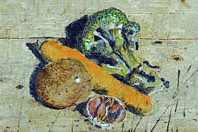 Painting - Veg On The Chopping Block by Zilpa Van der Gragt