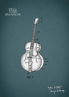 Music Photograph - Vega Guitar Patent 1949 by Mark Rogan