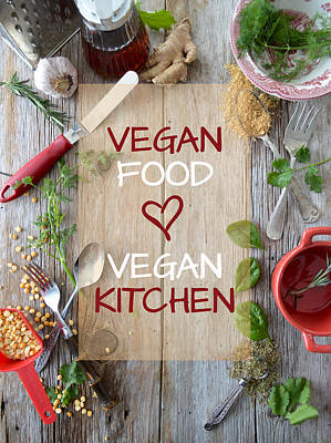 Photograph - Vegan Food Vegan Kitchen Barn Wood by Nadine Primeau