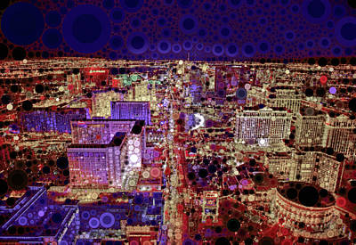 Mixed Media - Vegas City Lights by Susan Maxwell Schmidt
