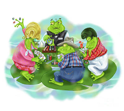Mixed Media - Vegas Frogs Playing Poker by Shari Warren