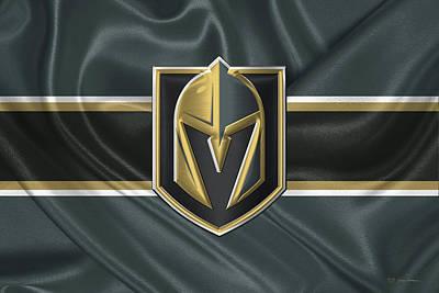 Digital Art - Vegas Golden Knights - 3 D Badge Over Silk Flag by Serge Averbukh