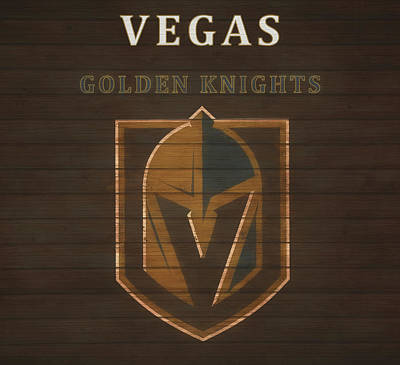 Mixed Media - Vegas Golden Knights Barn Door by Dan Sproul
