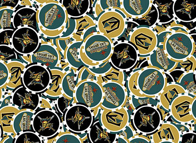 Digital Art - Vegas Golden Knights Poker Chips Illustration by Ricky Barnard