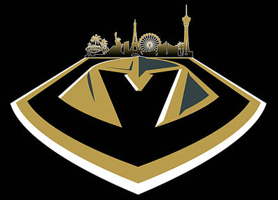 Sports Royalty-Free and Rights-Managed Images - Vegas Golden Knights with Skyline by Ricky Barnard