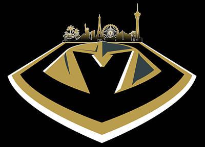 Digital Art - Vegas Golden Knights With Skyline by Ricky Barnard