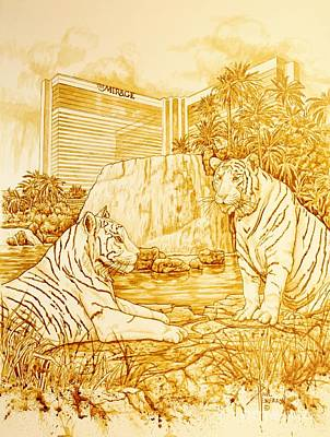 The Tiger Painting - Vegas Mirage by Paul Henderson