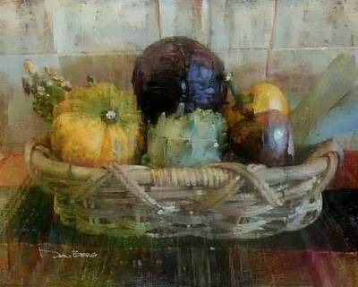 Asparagus Digital Art - Vegetable Basket 1 by Don Berg