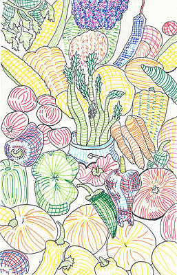 Asparagus Drawing - Vegetable Cornucopia by Timothy Forry