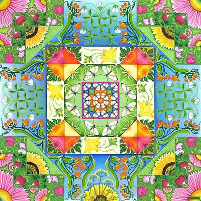 Green Beans Painting - Vegetable Patchwork by Isobel  Brook Haslam