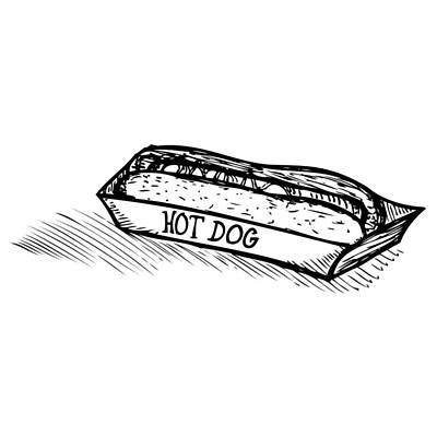 Drawing - Veggie Hot Dog by Karl Addison