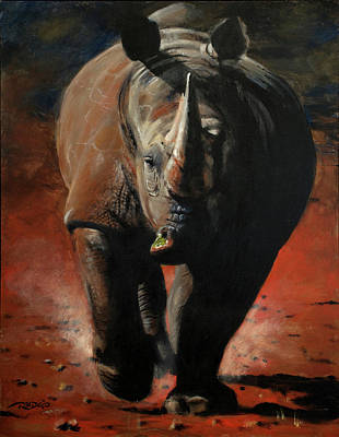 One Horned Rhino Painting - Veggie Might by Christopher Reid