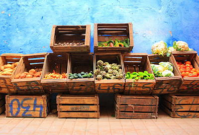Photograph - Veggies And The Blue Wall by Ramona Johnston