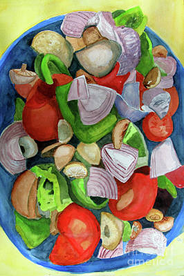 Salade Painting - Veggies by Sandy McIntire