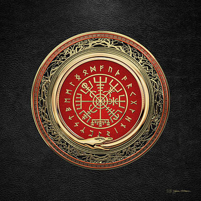 Digital Art - Vegvisir - A Gold Magic Viking Runic Compass On Black Leather by Serge Averbukh