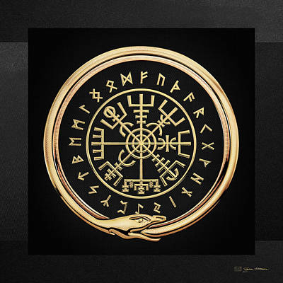 Digital Art - Vegvisir - A Magic Icelandic Viking Runic Compass - Gold On Black by Serge Averbukh