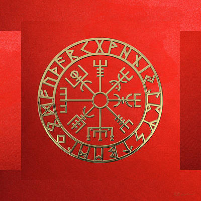 Digital Art - Vegvisir - A Magic Icelandic Viking Runic Compass - Gold On Red by Serge Averbukh