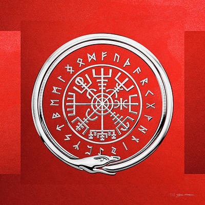Digital Art - Vegvisir - A Magic Icelandic Viking Runic Compass - Silver On Red by Serge Averbukh