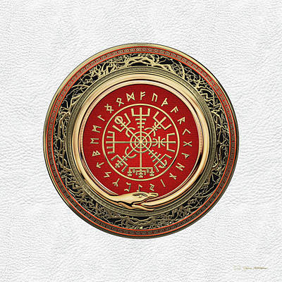 Digital Art - Vegvisir - A Silver Magic Viking Runic Compass On White Leather by Serge Averbukh