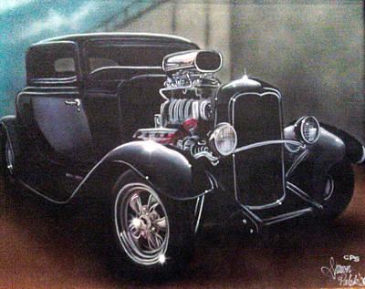 Painting - Vehicle- Black Hot Rod  by Shawn Palek