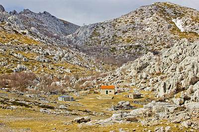 Photograph - Velebit Stone Desert And Mountain Shelter View by Brch Photography