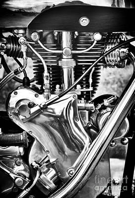 Venom Photograph - Velocette Venom Engine Monochrome by Tim Gainey