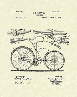 Bicycle Drawing - Velocipede 1890 Patent Art by Prior Art Design
