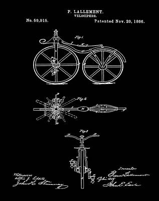 Velocipede Drawing - Velocipede Bicycle Patent 1866 Black by Bill Cannon