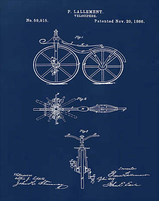 Velocipede Drawing - Velocipede Bicycle Patent 1866 Blue by Bill Cannon