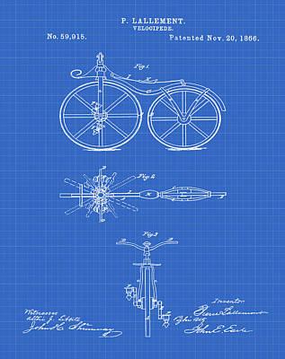Velocipede Drawing - Velocipede Bicycle Patent 1866 Blueprint by Bill Cannon
