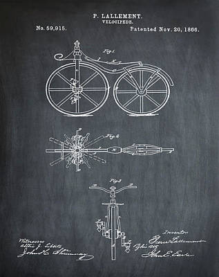 Velocipede Drawing - Velocipede Bicycle Patent 1866 Chalk by Bill Cannon