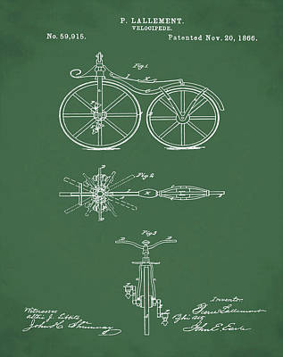 Velocipede Drawing - Velocipede Bicycle Patent 1866 Green by Bill Cannon