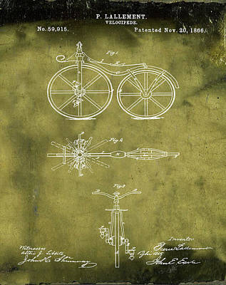 Velocipede Drawing - Velocipede Bicycle Patent 1866 Grunge by Bill Cannon
