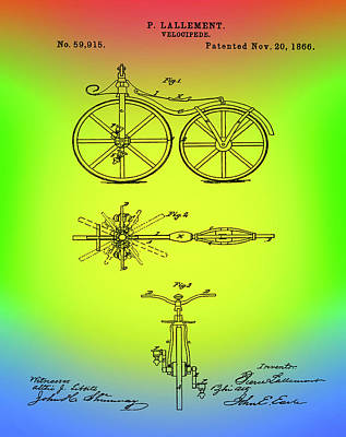 Velocipede Drawing - Velocipede Bicycle Patent 1866 Rainbow by Bill Cannon