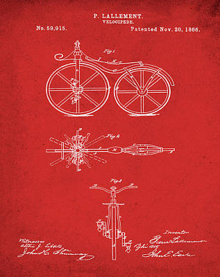 Velocipede Drawing - Velocipede Bicycle Patent 1866 Red by Bill Cannon